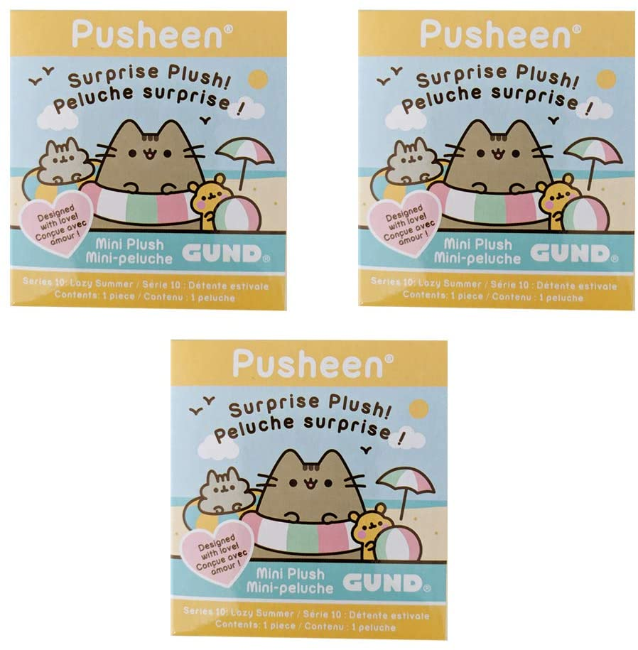 GUND Pusheen Plush Surprise Box Series #10 - Lazy Summer, 3-Pack Bundle