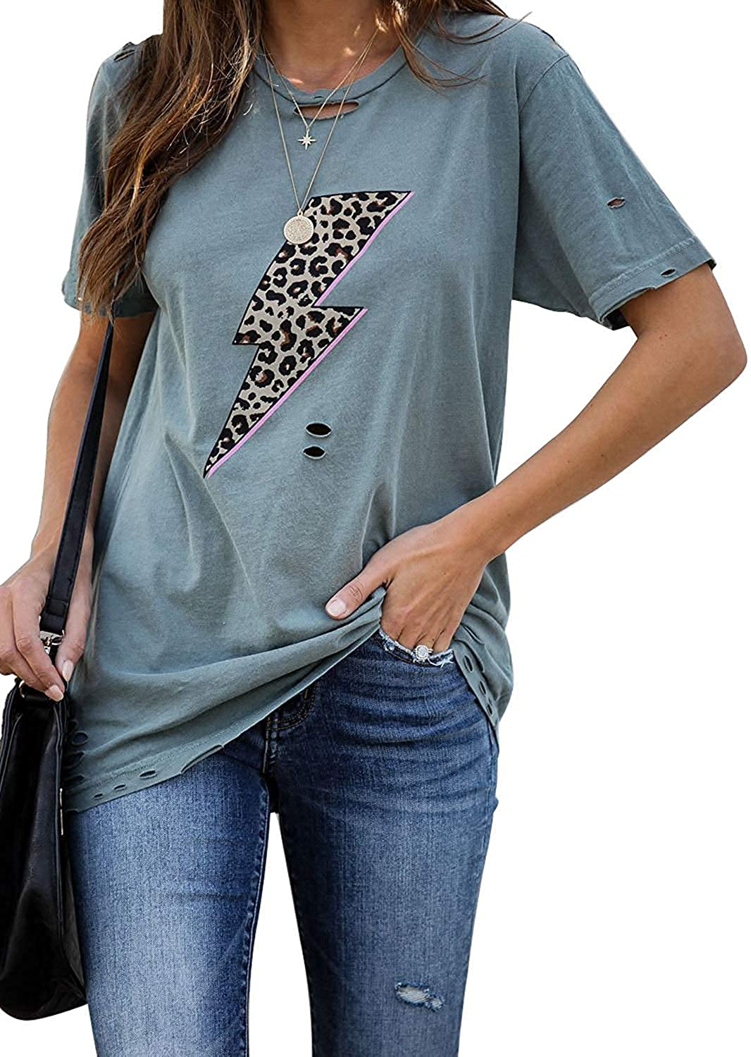 Uusollecy Womens Summer Tshirts Crewneck Short Sleeve Graphic Tee Shirts Loose Fit Ins Style Tees and Tops