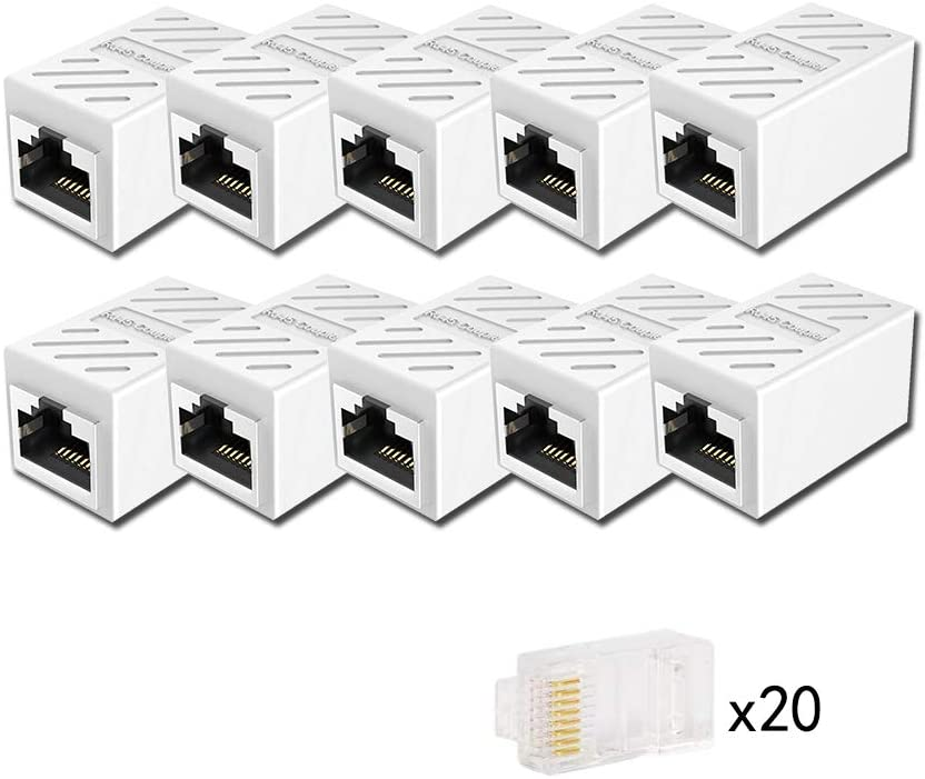 RJ45 Coupler, CAIVOV Ethernet Couple Cat7 Cat6 Cat5e Ethernet Cable Extender Adapter LAN Connector in Line Coupler Female to Female (White-10 Pack)
