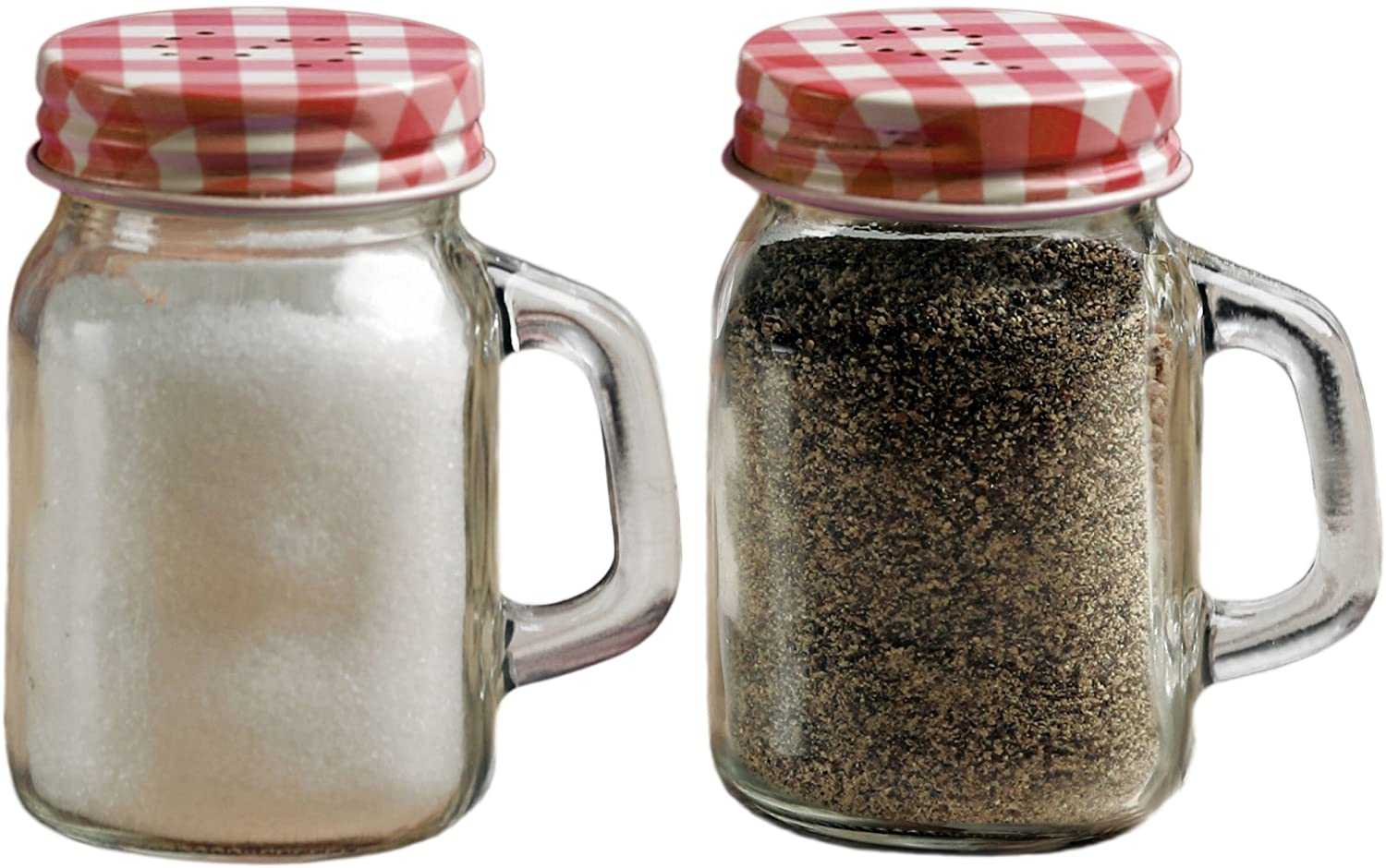 Circleware Mini Mason Jar Mug Glass Salt and Pepper Shakers with Metal Lids, Serving Food Container Glassware Dispensers Perfect for Himalayan Seasoning Herbs Spices, 5 oz, Red