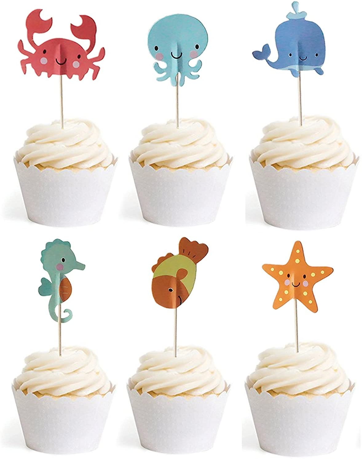 Bilipala Ocean Sea Animal Creature Fish Starfish Whale Octopus Crab Sea Horse Cake Cupcake Topper Picks for Party Decorations, 24 Counts