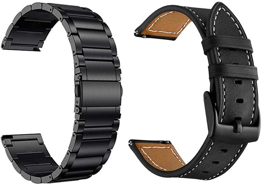 Yeejok Vivoactive 4S 40mm Watch Bands, Replacement 18 mm Metal Band and Quick Released Genuine Leather Watch Strap Compatible for Garmin Vivoactive 3S 39mm Smart Watch, Black + Black