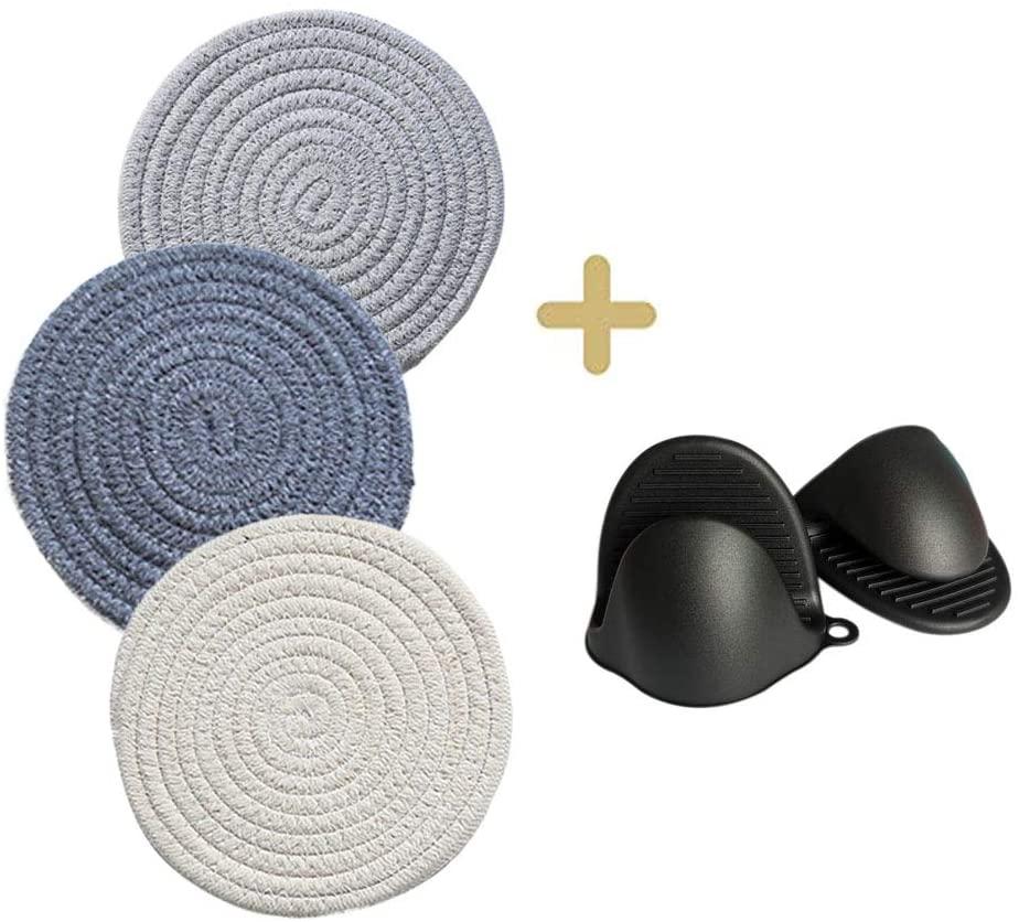 N/Y Pot Potholder and Silicone Oven Mitt Set, 3Pcs Cotton Heat Resistant Hot Pad Coasters Pot Holder Trivet Mats with 1 Pair Silicone Oven Mitt Set (3 Colors, Set of 5)