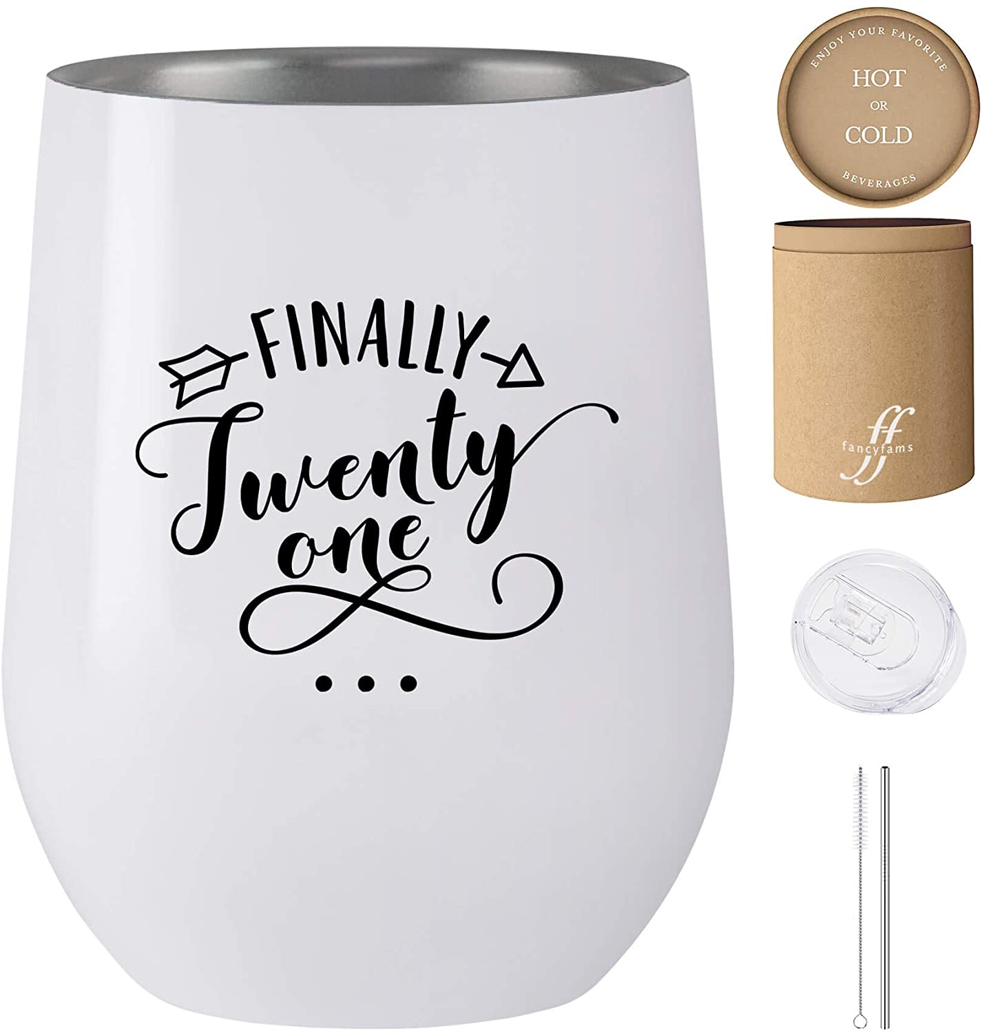 Finally 21-12 oz Stainless Steel Stemless Wine Tumbler with Lid and Straw - 21st Birthday Gifts For Her - Celebrate Turning Twenty One (White)