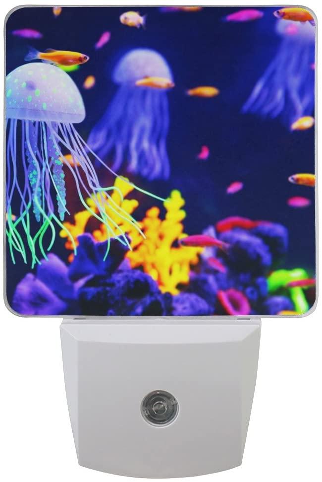 Naanle Set of 2 Beautiful Colorful Jellyfish in Aquarium with Fish Coarl Marine Sea Life Auto Sensor LED Dusk to Dawn Night Light Plug in Indoor for Adults