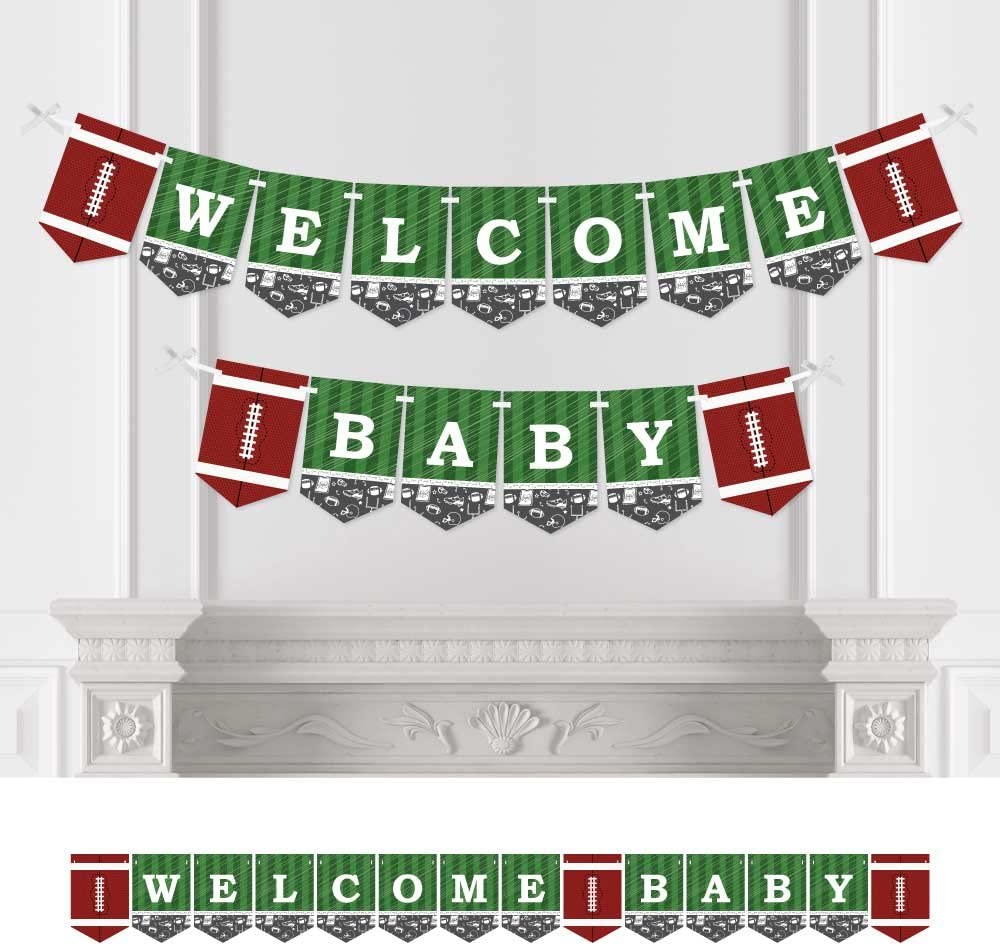 Big Dot of Happiness End Zone - Football - Baby Shower Bunting Banner - Sports Party Decorations - Welcome Baby