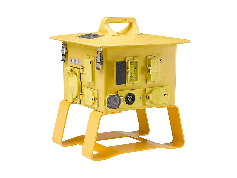 Molex 1301380127 Super-Safeway Portable Power Distribution Box - Yellow, Feed-Thru, 6 NEMA L5-20 GFCI Duplex Receptacles, 1 NEMA L6-30 Locking Receptacle