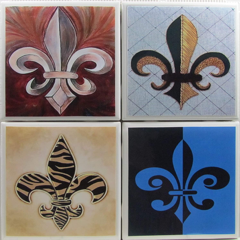 Coasters for Drinks - Fleur de lis - Set of 4-4