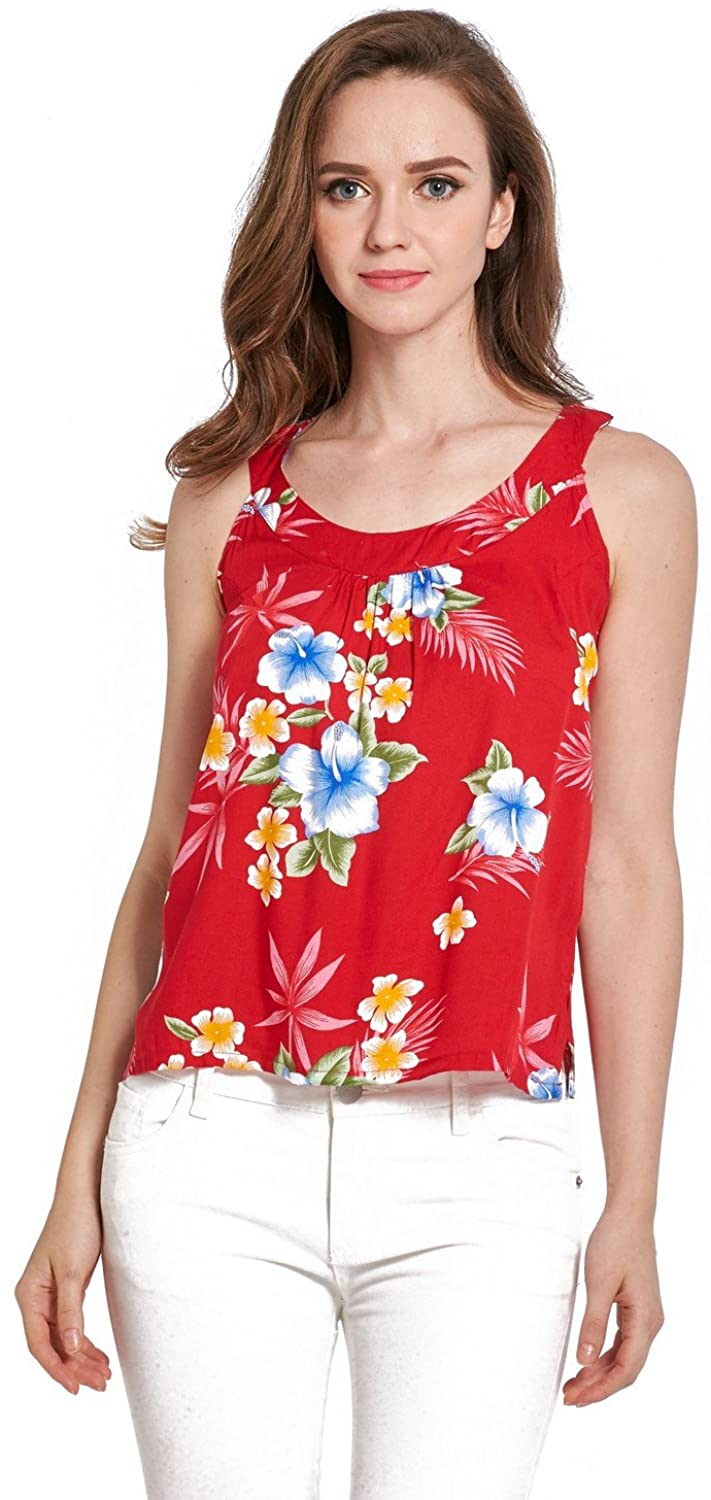 Women's Hawaiian Floral Tank Top in Hibiscus Pattern 3 Colors
