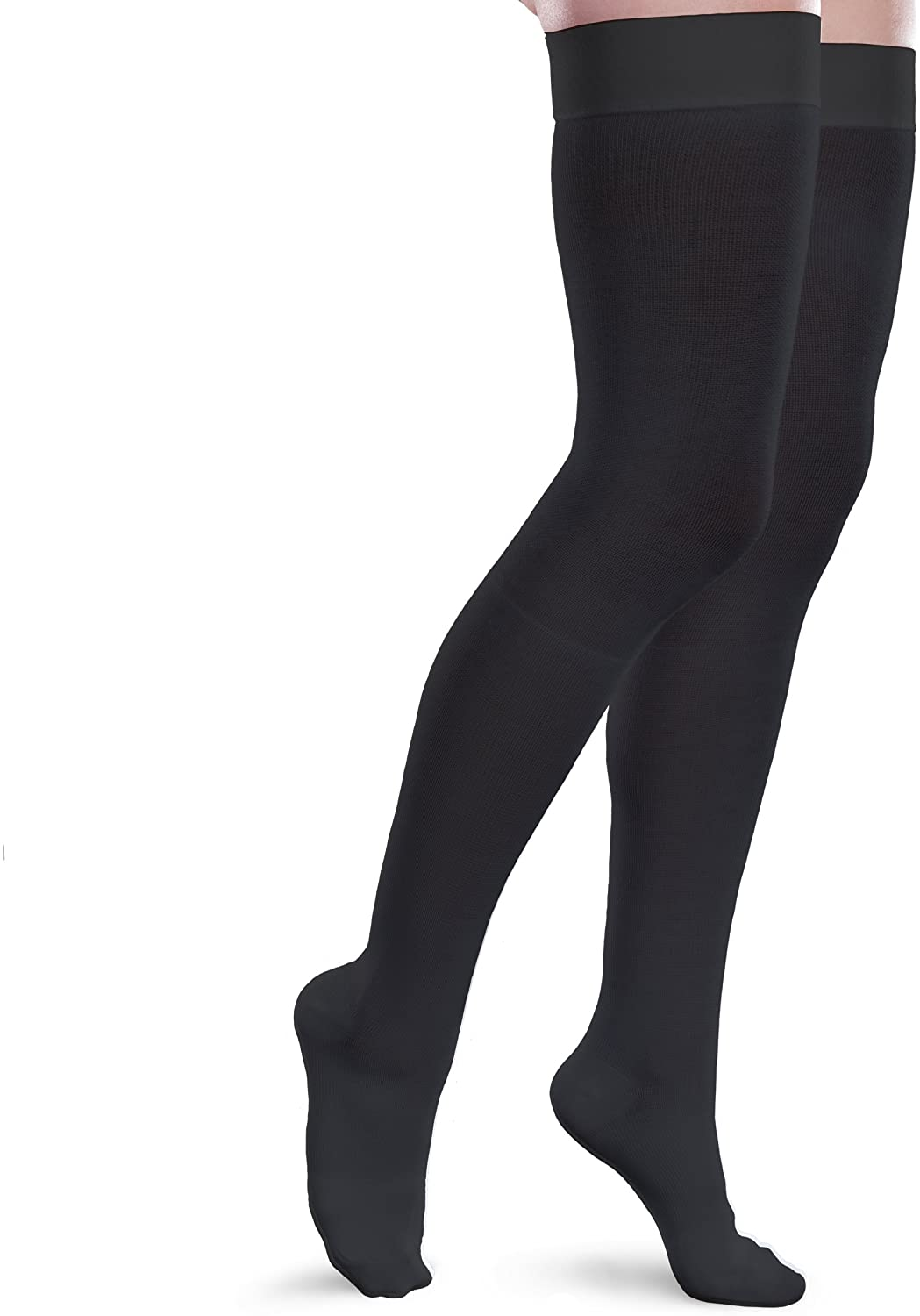 Therafirm Core-Spun 20-30mmHg Moderate Graduated Compression Support Thigh High Socks (Black, XXL Long)