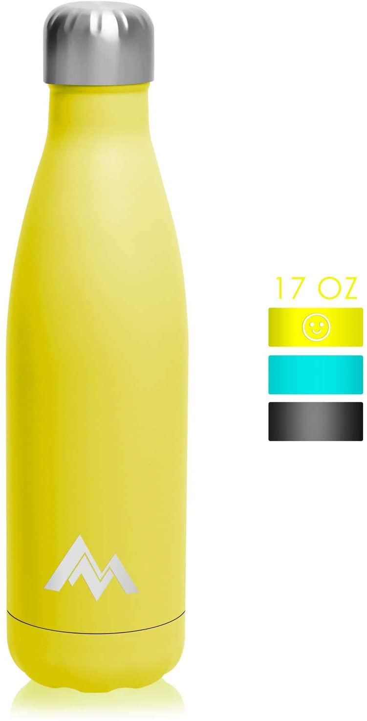Shangmeite 17 Oz Stainless Steel Vacuum Insulated Water Bottle, Sports Cola Shape Thermos,Leak-Proof Sports Flask (Yellow)
