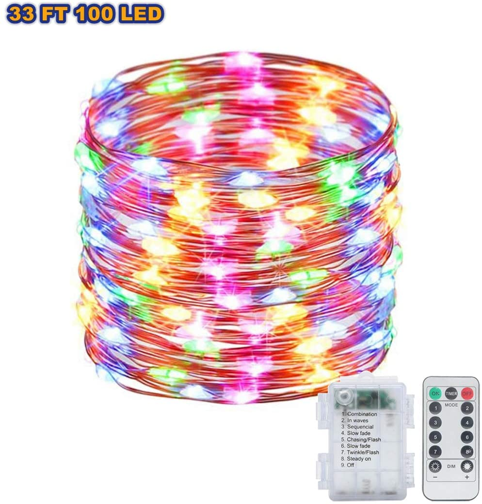 Fairy Lights 33FT 100 LED Battery Operated Christmas Lights with Remote Control & Timer Waterproof 8 Mode Copper Wire String Lights for Party Wedding Patio Indoor Outdoor Decoration (Multi Color)