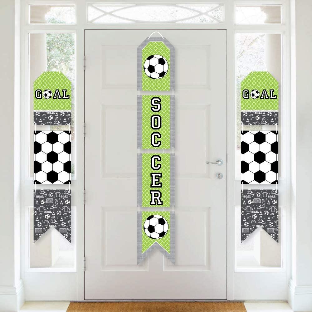 Big Dot of Happiness Goaaal - Soccer - Hanging Vertical Paper Door Banners - Baby Shower or Birthday Party Wall Decoration Kit - Indoor Door Decor