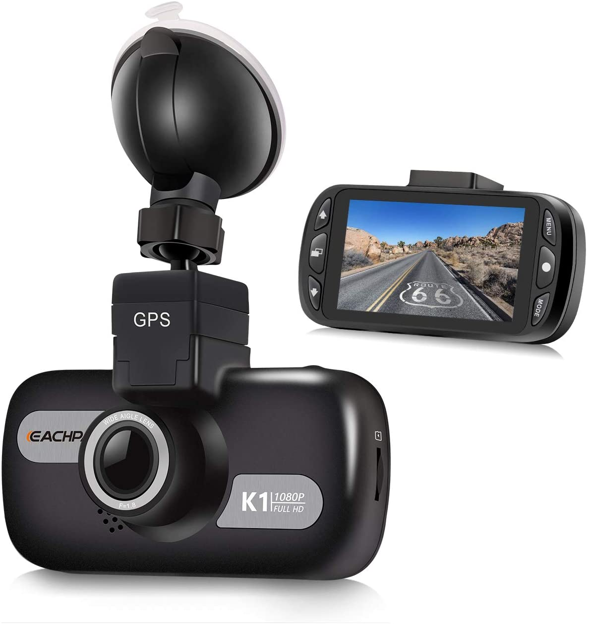 GPS Dash Cam for Cars, EACHPAI K1 1080P Dash Camera for Taxi,Ridershare Drivers and Trucks, 3'' Screen Car Camera Front with Wide Angle,Sony Sensor,Super Capacity, WDR, G-Sensor,Loop Recording