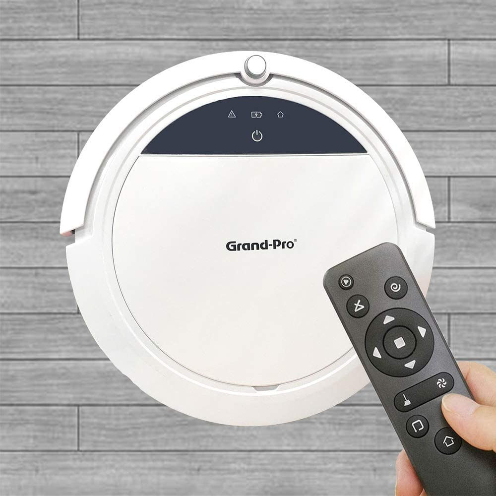 Grand-Pro S1 Robot Vacuum Cleaner and Mop Combo, Designed for Hard Floors & Pet Hair, Tangle-Free Design, Slim & Quiet, Self-Charging, Dustbin Water Tank Adjustable Schedule Household White