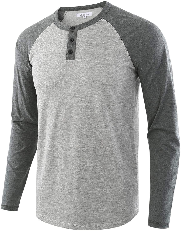 Vetemin Men's Casual Vintage Long Sleeve Raglan Henley Shirts Baseball T-Shirt