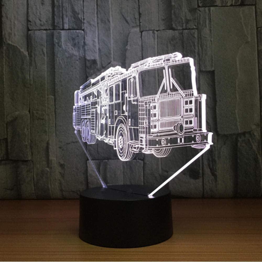 3D Fire Engine Car Table Lamp 7 Colors Changing Fire Truck Long Car Night Light USB Sleep Light Fixture Bedroom Decor Kids Gift