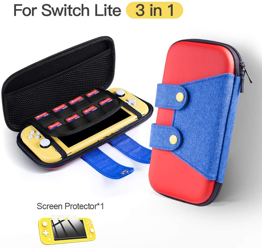 Carrying Case for Nintendo Switch Lite, Protective Portable Hard Shell Travel Cover Bag with 8 Game Card Slots for Switch Lite Games & Accessories