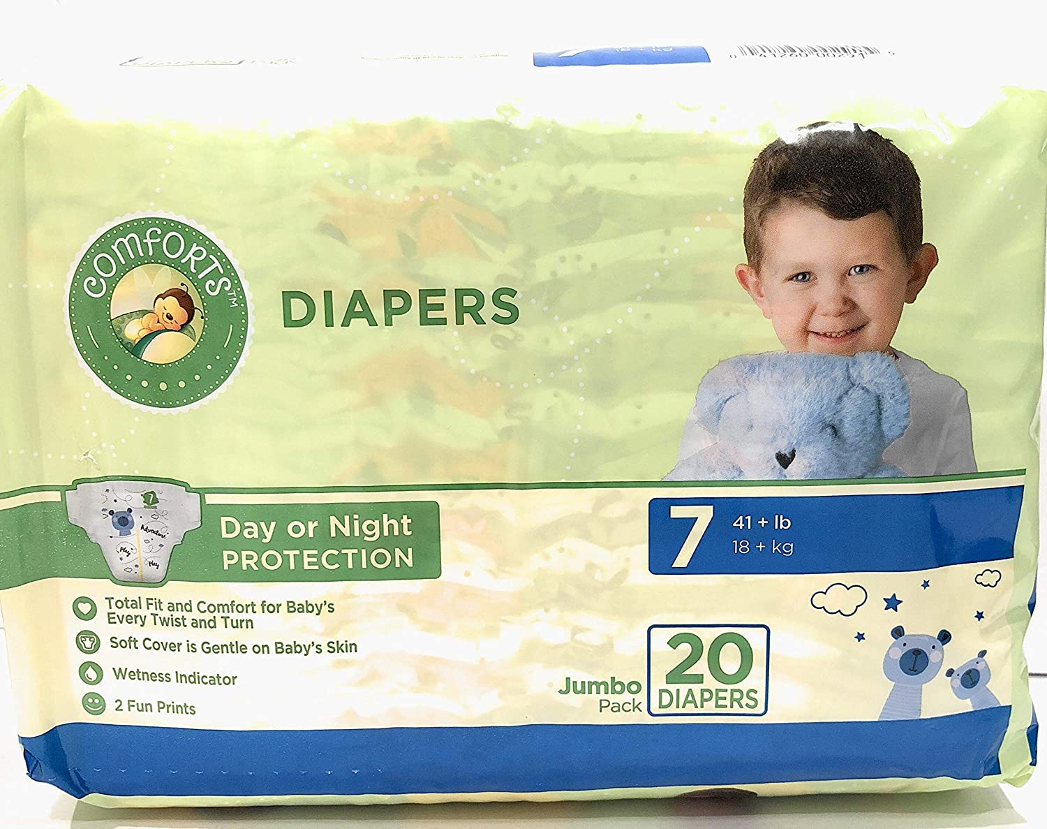 Diapers Size 7, 20 Count, Kroger Comforts Day Night Disposable Diapers, 41+ Pounds