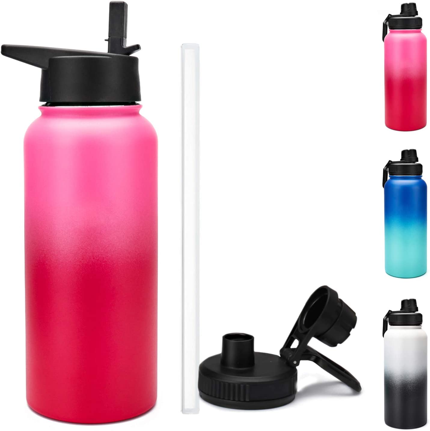 NeBaee Insulated Water Bottle - 24oz, 32oz, 40oz, 2 Lids (Straw Lid), Keep Liquids Hot or Cold with Double Wall Vacuum Insulated Stainless Steel, Design for Sports (red+pink, 32oz)
