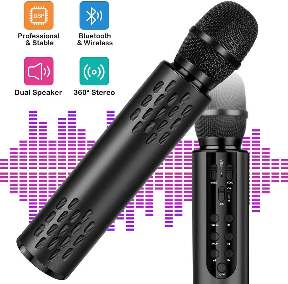Wireless Bluetooth Karaoke Microphone with Dual Stereo Speaker for Cell Phone Tablet PC, Portable Handheld Singing Machine Gifts (2020 Upgraded Black)