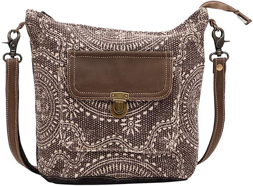 Myra Bag Indigo Upcycled Canvas & Leather Shoulder Bag S-1451
