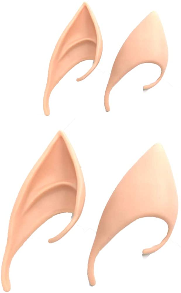 Halloween Elf Ear, 2 Pair Latex Elf Ear Pixie Dress Up Costume Soft Pointed Goblin Ears Cosplay