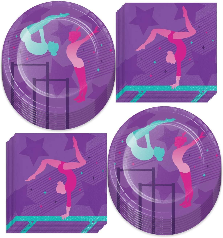 Gymnastics Party Supplies - Girl Gymnast Paper Dessert Plates and Beverage Napkins (Serves 16)