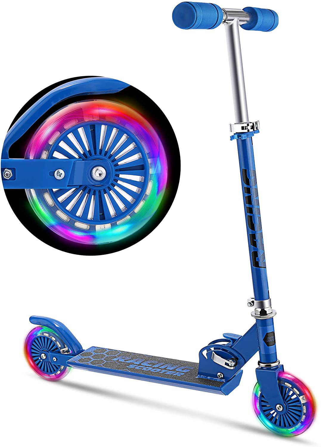 WeSkate Scooter for Kids with LED Light Up Wheels, Adjustable Height Kick Scooters for Boys and Girls, Rear Fender Break|5lb Lightweight Folding Kids Scooter, 110lb Weight Capacity