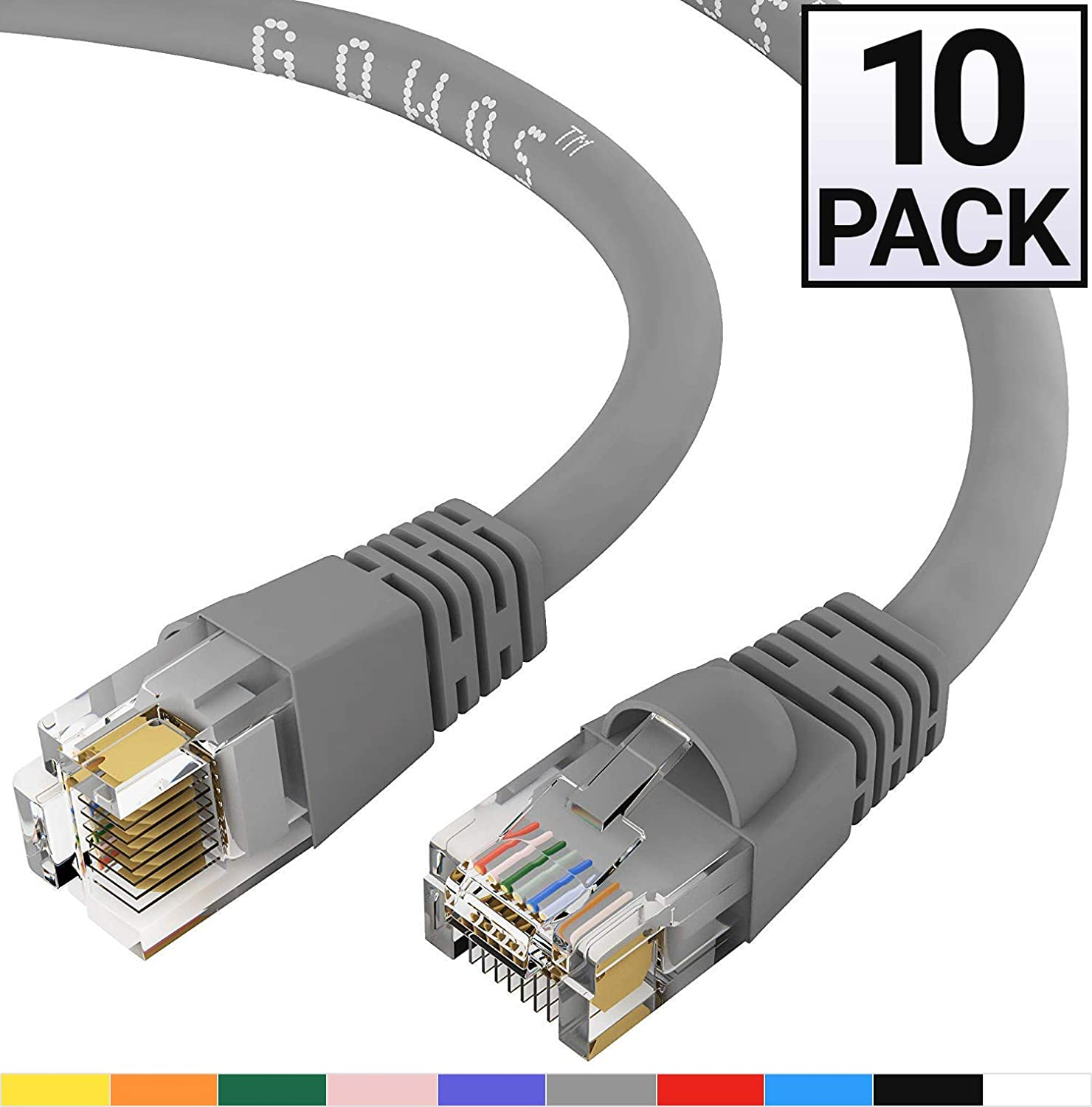 GOWOS 10-Pack, Cat6 Ethernet Cable (3 Feet - Gray) UTP - Computer Network Cable with Snagless Connector - RJ45 10Gbps High Speed LAN Internet Patch Cord - Available in 28 Lengths and 10 Colors