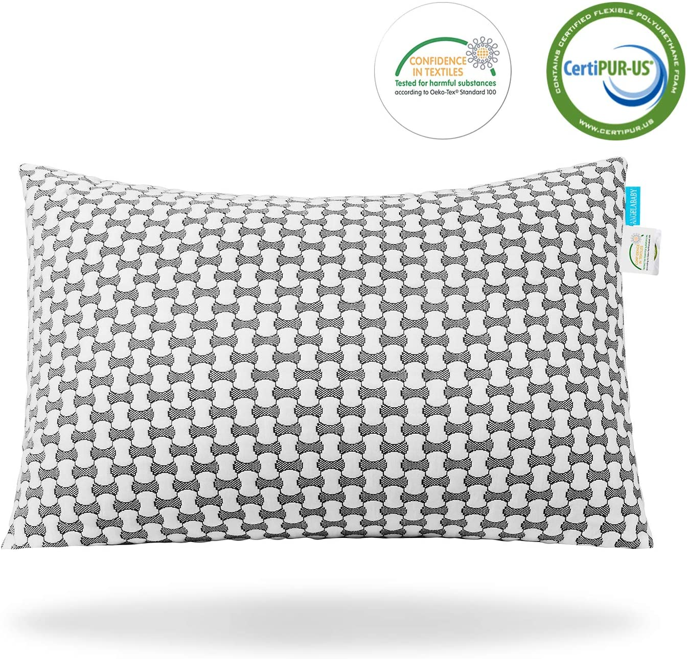 ANGELABABY Adjustable Pillow, Shredded Memory Foam with Cooling Feeling, Removable Washable Cover from Bamboo Derived Rayon, Ultra-Luxury Premium Bed Pillow for Sleeping (Queen)