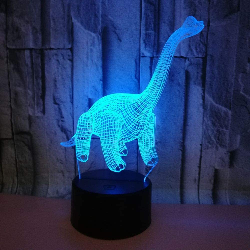 Optical Illusion 3D Dinosaur Night Light 7 Colors Changing USB Power Touch Switch Decor Lamp LED Table Desk Lamp Children Kids Brithday Christmas Xmas Gift