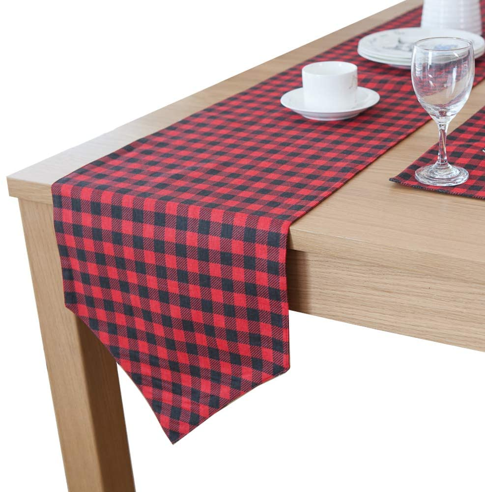 Uspacific Plaid Table Runner, Checkered Table Runner 11.8'' x 70.9'' Red and Black for Daily Table Decoration, Party,Indoor or Outdoor Picnic (seat 4-6)