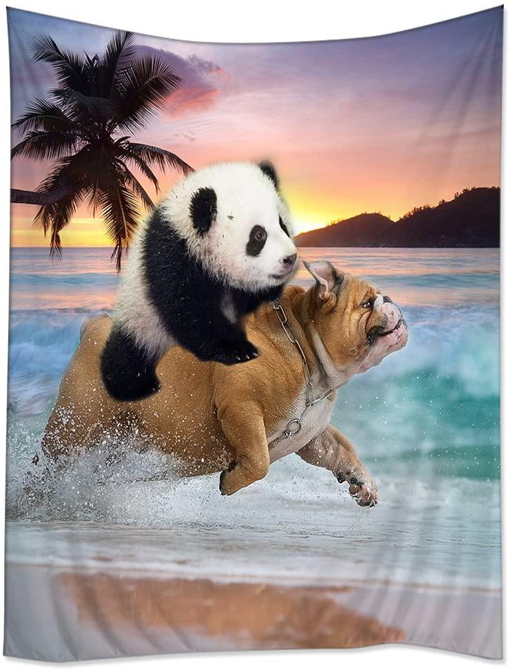 TSlook Hippie Tappassier Tapestry Bohemian Bedspread Funny Panda Ride Pug Dog Running in Beach 60
