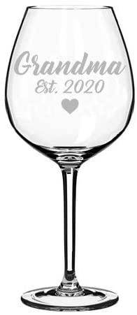 Wine Glass Goblet Grandmother Grandma Established 2020 (20 oz Jumbo)