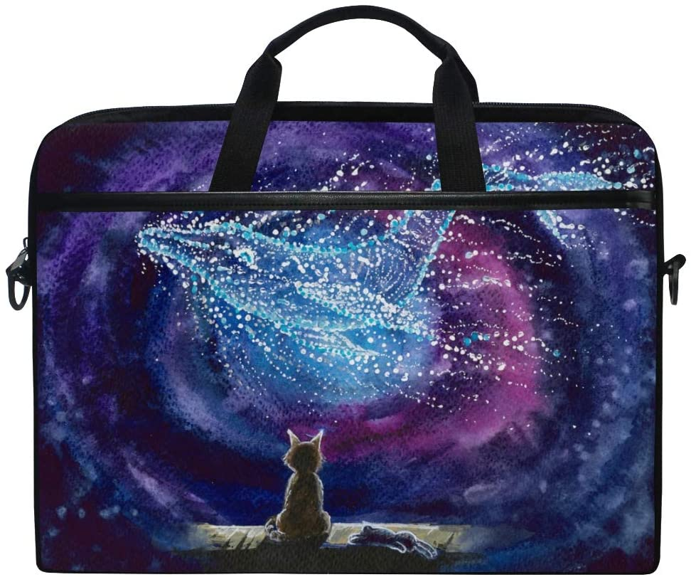 ALAZA Cat & Whale Animal Print Galaxy Starry Night Laptop Case Bag Sleeve Portable/Crossbody Messenger Briefcase Convertible w/Strap Pocket 15-15.4 inch, Back to School Gifts