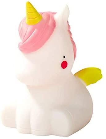 BOZHONG Cute Night Light, Portable Children's Luminous Night Light, LED Bedside Sleep Mood Night Light, Baby Sleeping Toys, Kids Gifts (SitW-Unicorn-B)