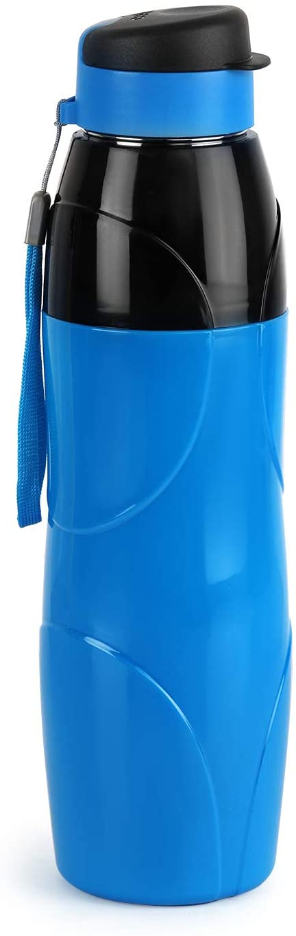 CELLO Insulated BPA Free Leak Proof Bottle with Stainless Steel Inner Wall for Sports, Office and Gym/Wide Mouth Reusable Drinking Container with Easy Flip Top Cap - Puro Steel X Lexus (20 Oz, Blue)
