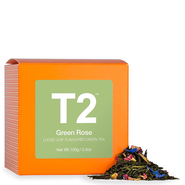 T2 Tea - Green Rose Green Tea, Loose Leaf Tea in a Box, 100g (3.5oz)