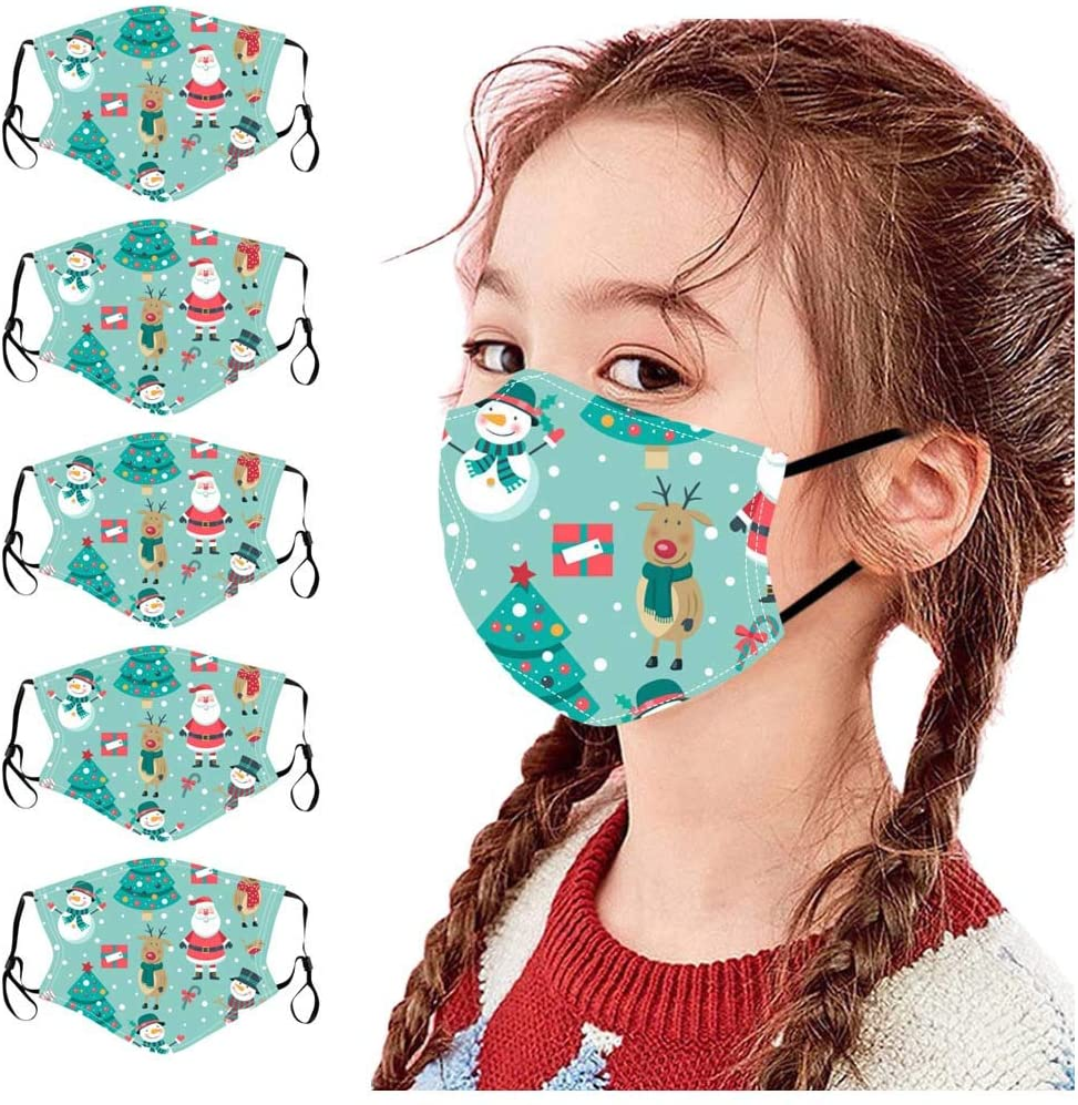 Walsent 5PCS Children Kids Cute Print Outdoor Protective Washable and Reusable Face Bandanas Stay Safe Face Mouth Bandanas, Christmas Decorations