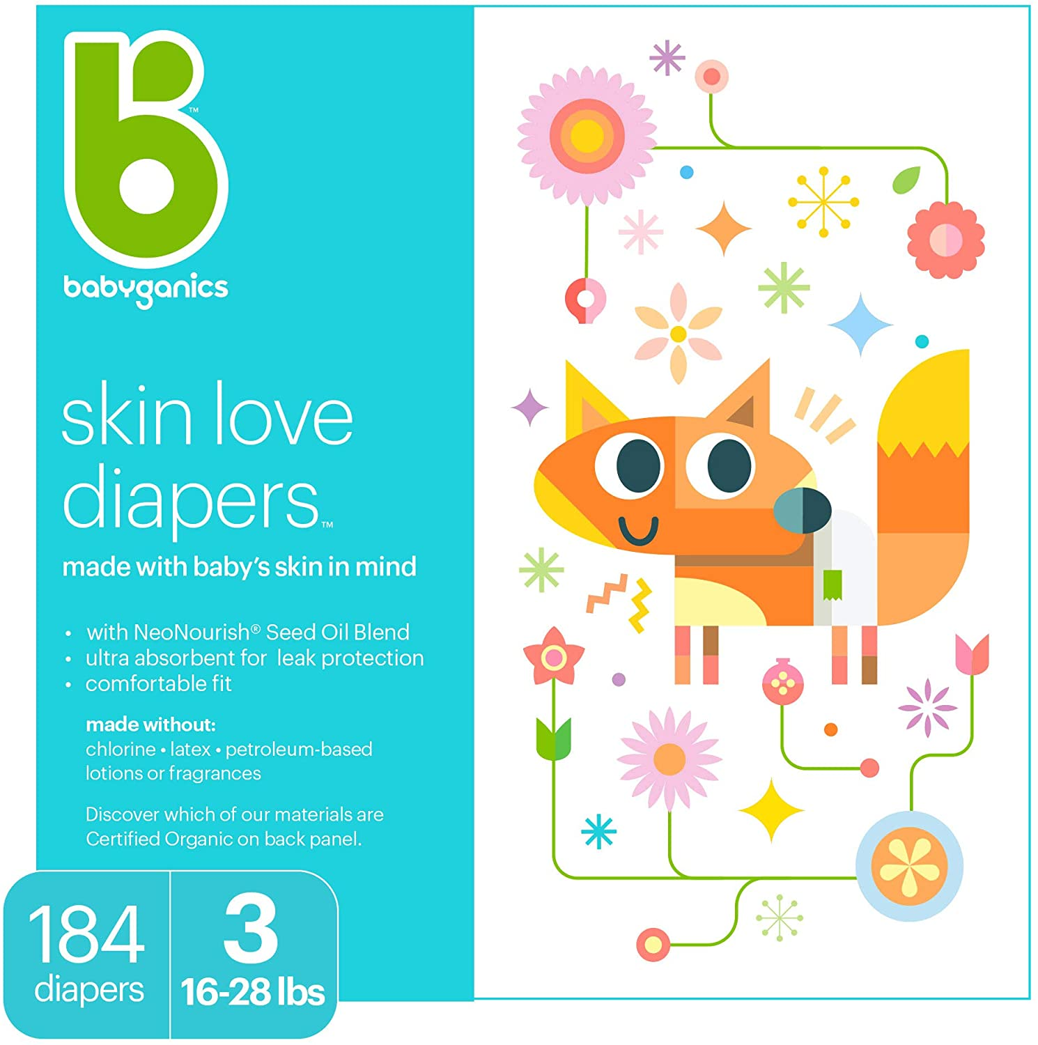 Diapers, Size 3, 184 ct, Babyganics Ultra Absorbent Diapers, Packaging May Vary, White