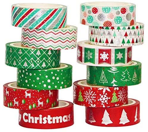 Christmas Washi Tape Pack - Japanese Washi Masking Tape with Foil - 12 Rolls Aesthetic Craft Tape, Great for DIY, Bullet Journal, Calendar, Gift Wrapping, Scrapbooking (Christmas Silvery)