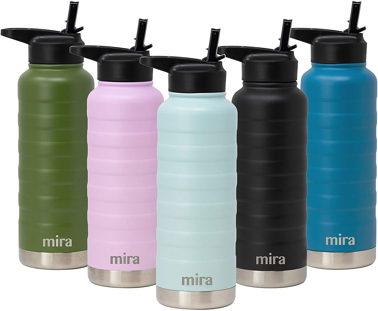 MIRA 32 Oz Stainless Steel Vacuum Insulated Ridge Water Bottle - Double Walled Thermos Flask - 24 Hours Cold, 12 Hours Hot - Reusable Metal Hydro Bottle - Leak-Proof Sports Bottle - Pearl Blue