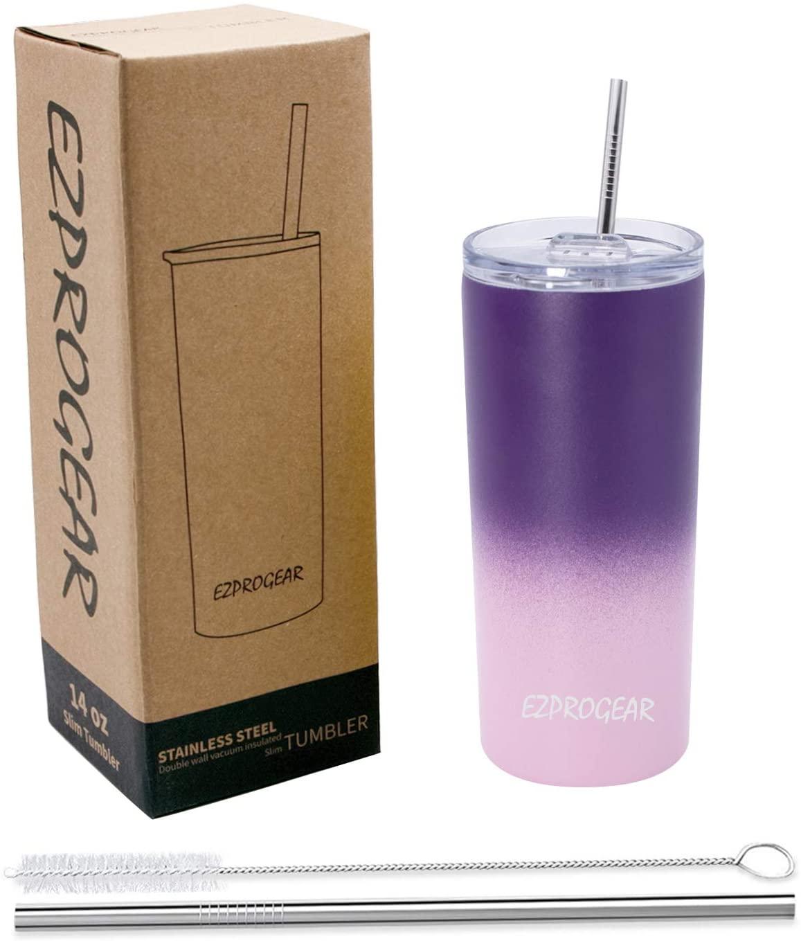 Ezprogear 14 oz Purple Grape/Carnation Pink Stainless Steel Slim Skinny Tumbler Vacuum Insulated with Straw (14 oz, Grape/Carnation)