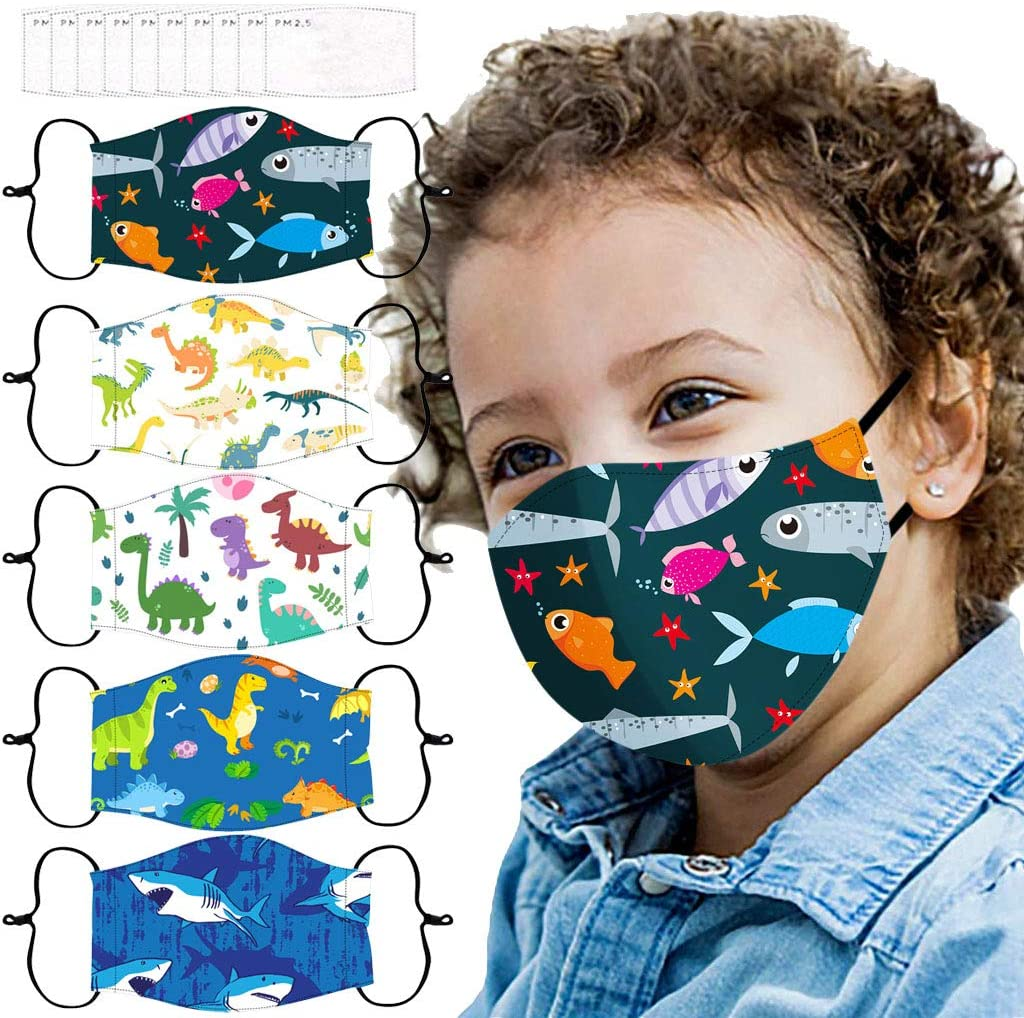 KYLEON Kids Daily Use Cute Printed Adjustable Cotton Reuseable Washable for Boys Girls for Halloween Christmas Party Use Children School Use