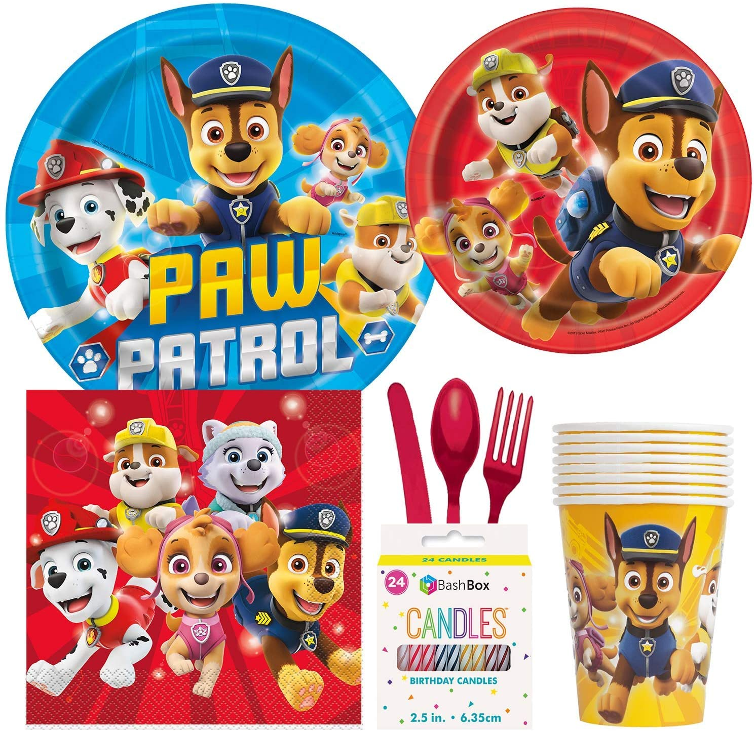 BashBox Paw Patrol Birthday Party Supplies Pack Including Cake & Lunch Plates, Cutlery, Cups & Napkins for 8 Guests Plus Bonus Candles