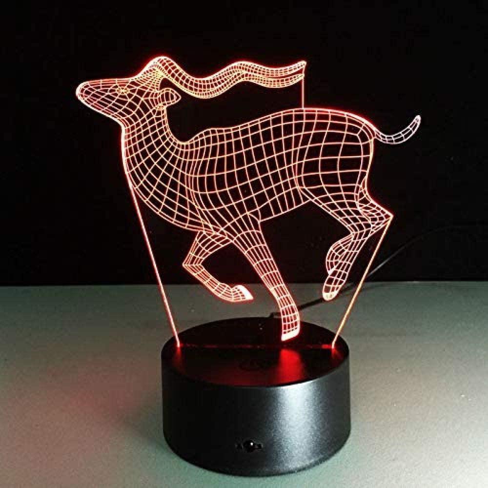 dferh 7 Color 3D Night Light Running Deer 3D LED Lamp Creative Small Desk Lamp Visual Night Light USB Color-Changing Light As Children s Gift Gift