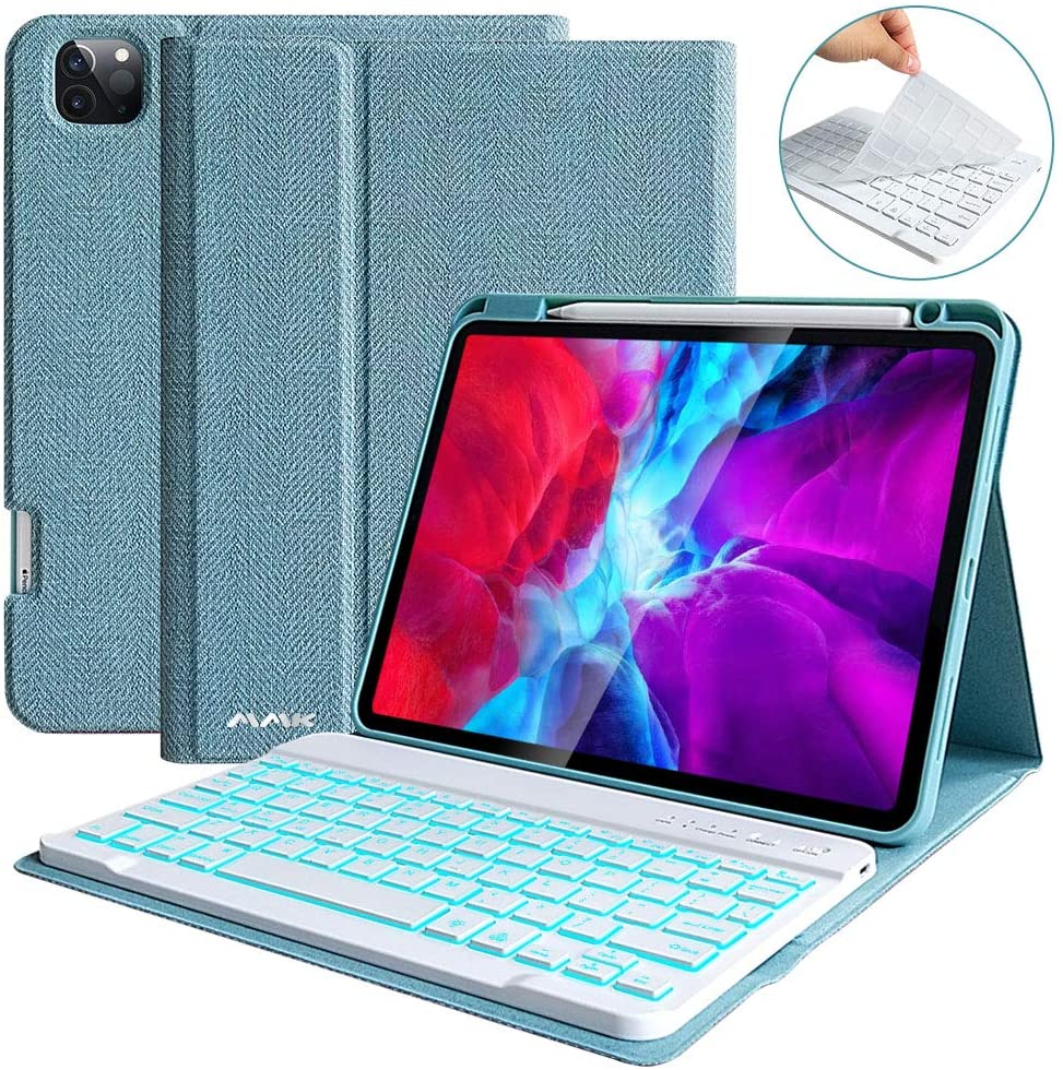 iPad Pro 11 Case 2020 with Keyboard (2nd Gen), iPad Pro 11 Case with Keyboard 2018(1st Gen) Bluetooth Wireless Detachable Keyboard-Pencil Holder-Support Apple Pencil Charging
