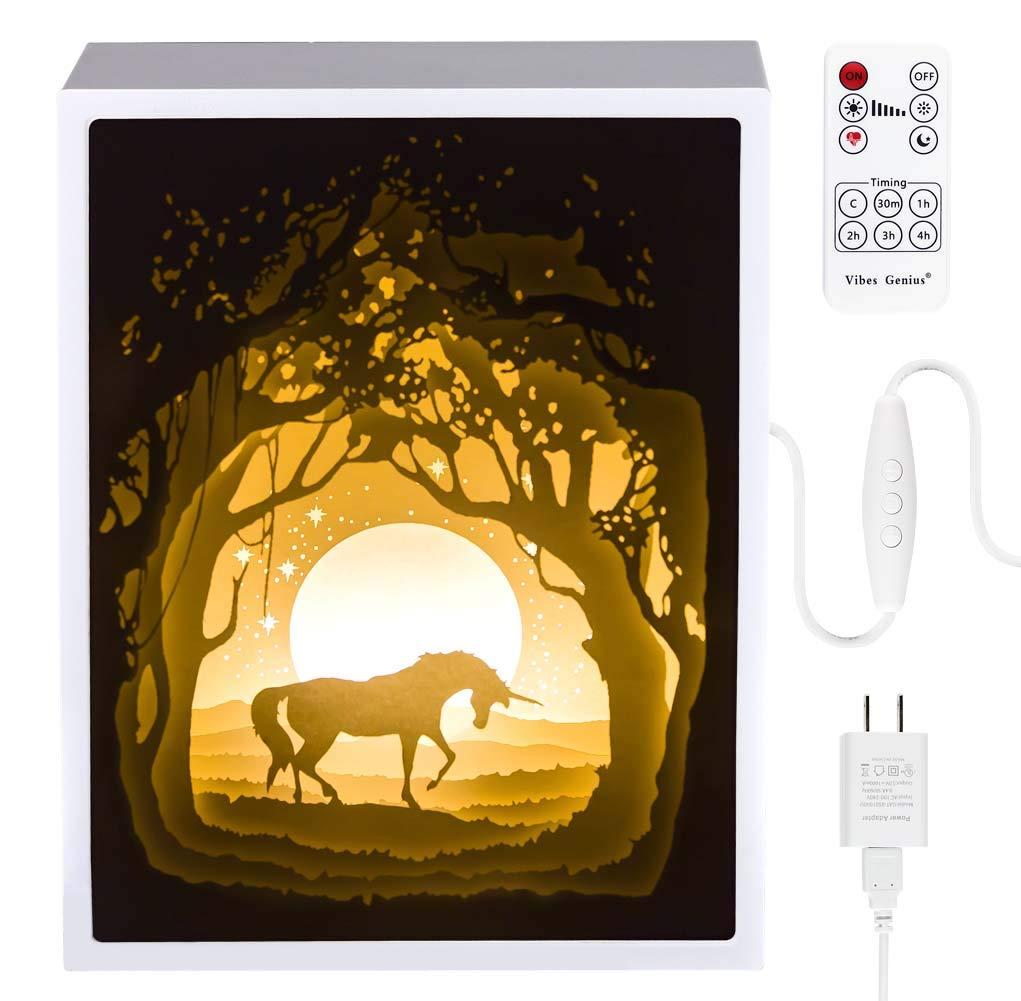 Papercut Light boxes, 3D Shadow Box Led light night lamp, Decorative Mood Light for Kids and Adults, Baby Nursery Kids Bedroom Living Room Night Light(Unicorn)