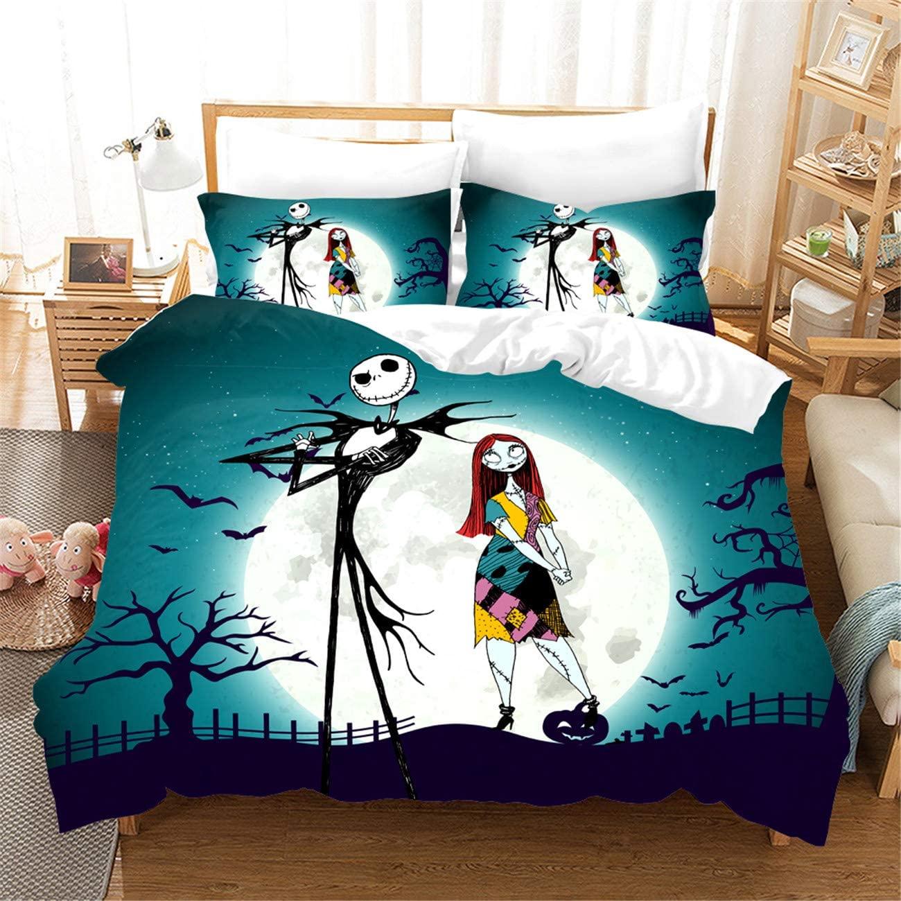 HMT NF Nightmare Before Christmas Jack and Sally Plum Cartoon Skull Bedding Duvet Cover Set King Size 1 Duvet Cover+2Pillowcases